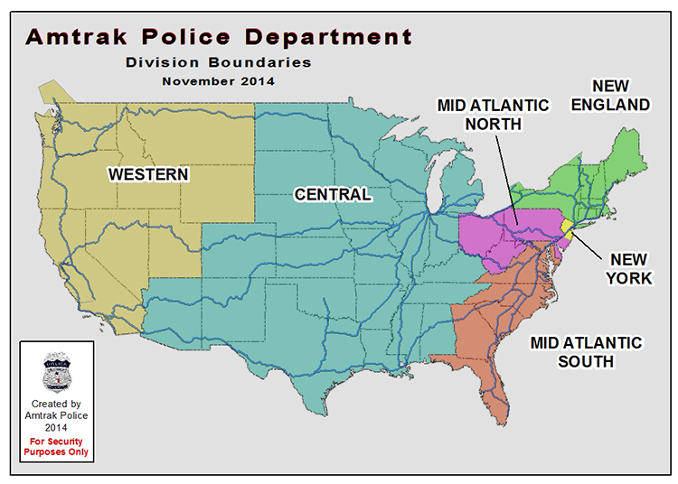 Amtrak Police Department - Patrol on metrolink stations map, train stations map, amtrak station charlotte north carolina, metrorail stations map, lirr stations map, tgv stations map, amtrak passenger train, city of new orleans train route map, amtrak train routes, amtrak trains schedules prices, septa stations map, nj transit stations map, railroad stations map, long island rail road stations map, philadelphia 30th street station map, national parks in indiana map, marc stations map, patco stations map, amtrak atlanta to new york, light rail stations map,