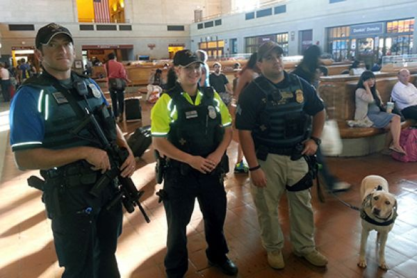 APD Officers at New Haven Station